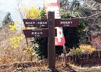 小仏峠の城山山頂から高尾山へ向かう