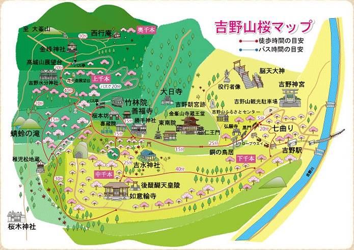 吉野山の登山マップ