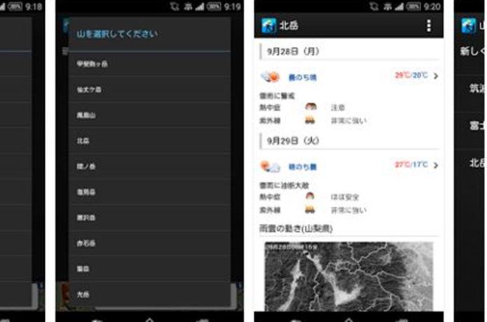 登山アプリの山の天気を表示します