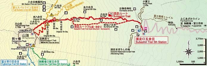 富士山須走ルート地図