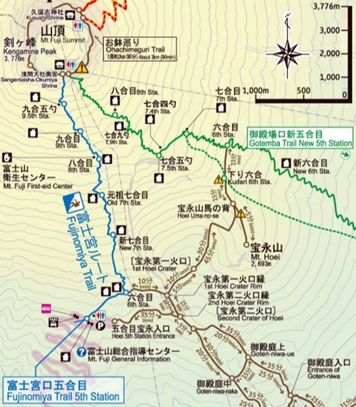 富士山富士宮ルート地図