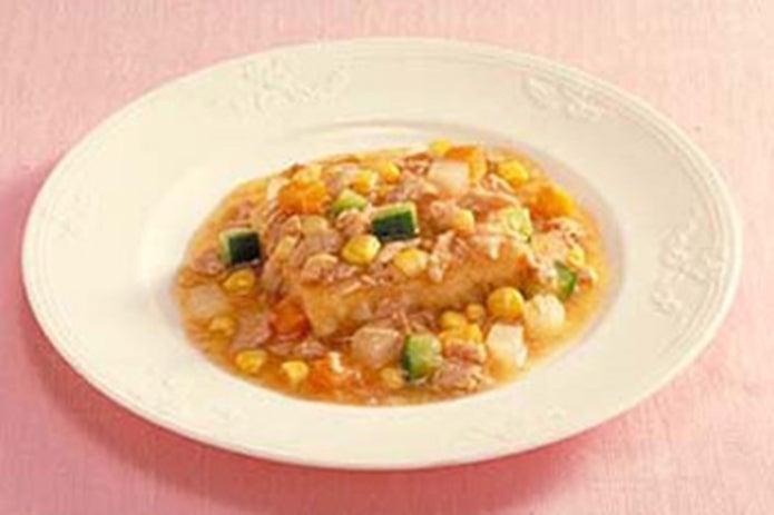 シーチキンソースと豆腐ステーキ