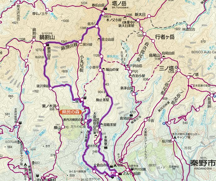 鍋割山登山コース画像