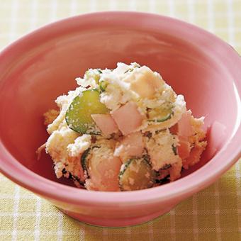 カニ缶とハムときゅうりのサラダ