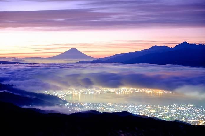 富士山 画像 雲海と夜景