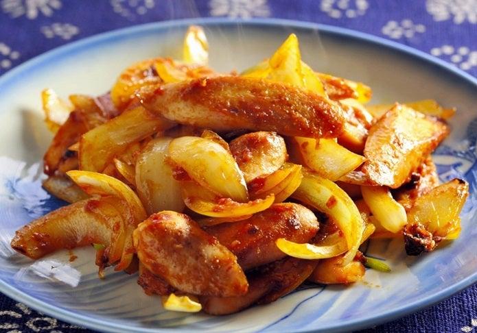 魚肉ソーセージ、コチュジャン炒め