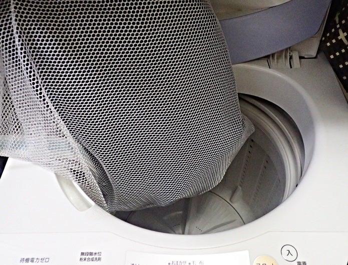 ゴアテックス洗濯でネットにウェアを入れる