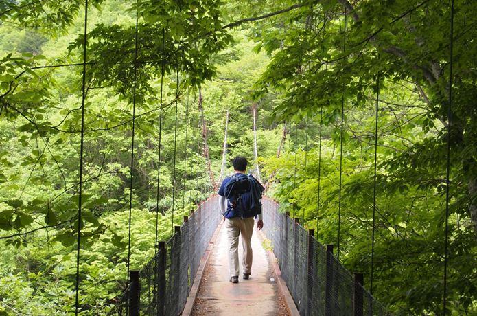 西沢渓谷の橋を渡る人