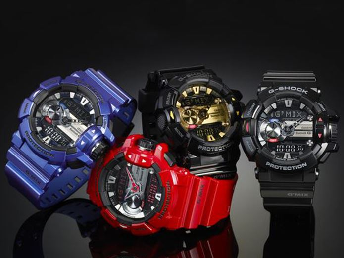 G-SHOCK色違いの時計4つ