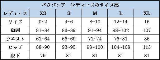 パタゴニアレディースのサイズ表