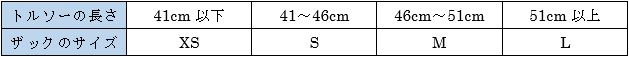 背面長とサイズの表記