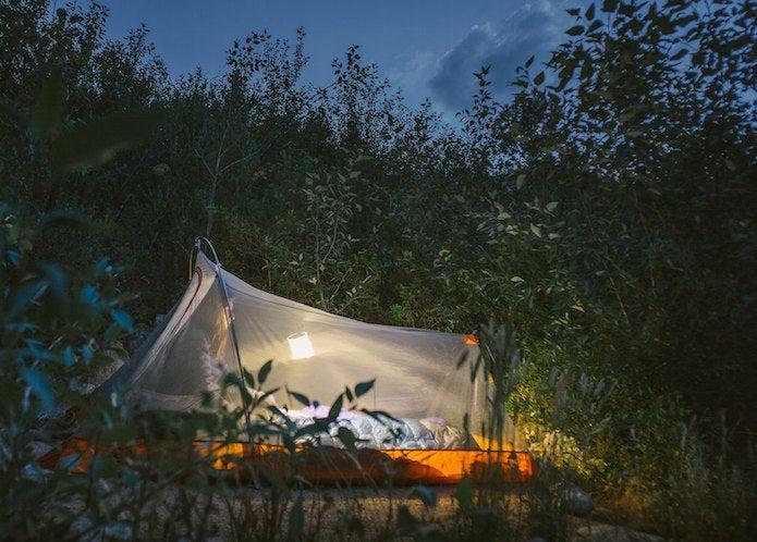 ソーラーランタンを使ったテント