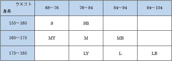 CW-Xスタビライクスのメンズサイズ表