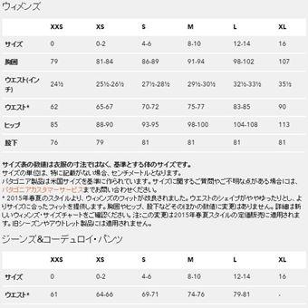 パタゴニアのバギーショーツのレディースサイズ表