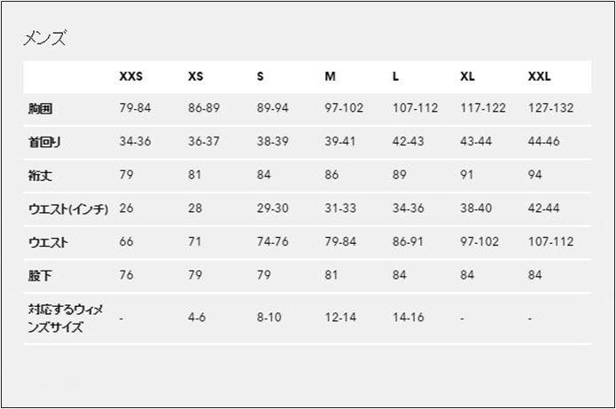 パタゴニアのフーディニ メンズサイズ表