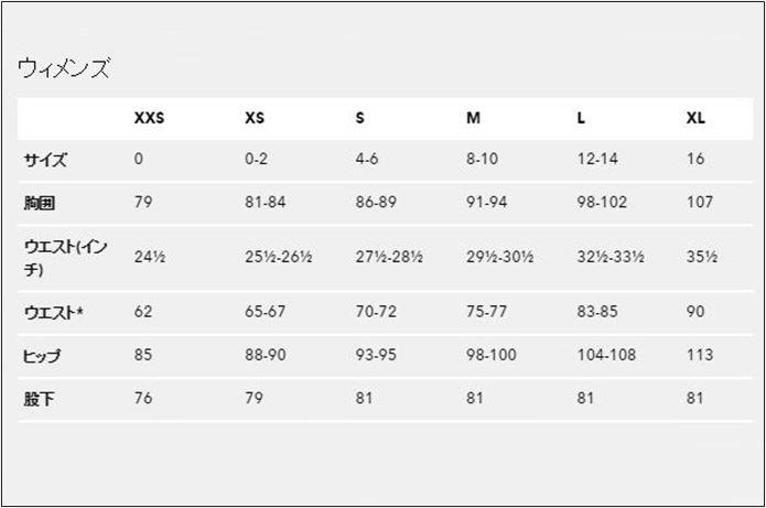 パタゴニアのフーディニ レディースサイズ表