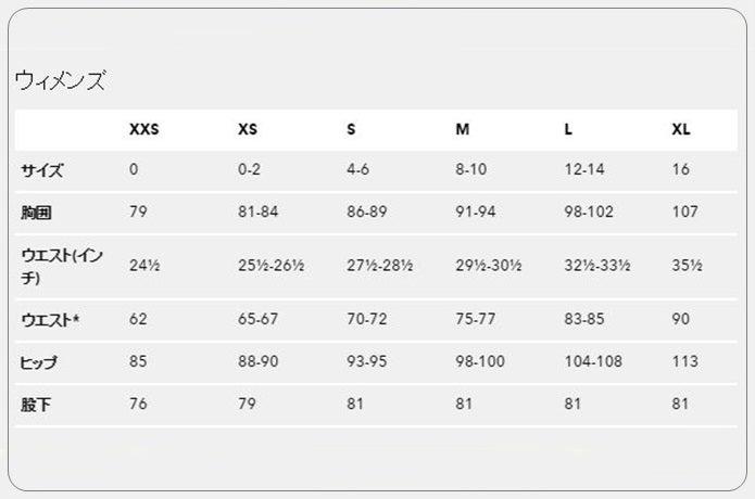 パタゴニア製品、ウィメンズのサイズ表