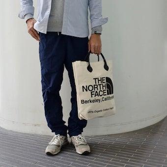 ノースフェイスのトートバッグを使ったメンズコーデ