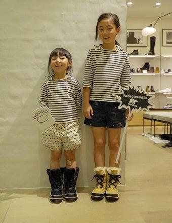 ソレルのブーツを履いた女の子2人