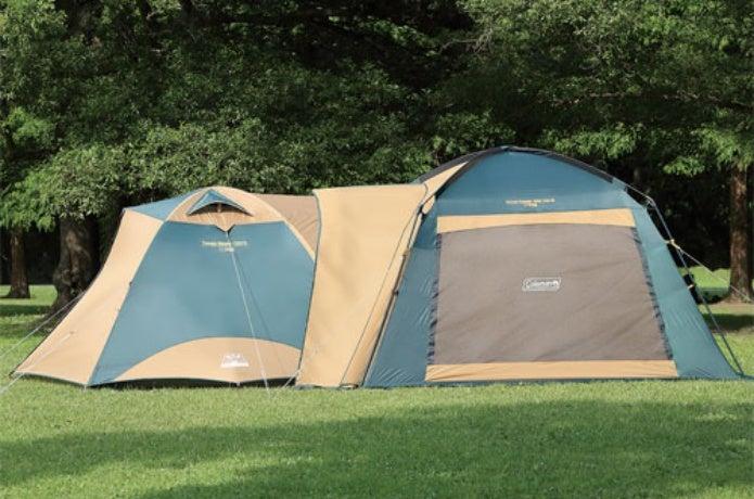 コールマンのテントとタープを連結した図