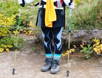 バイオギアを履いた登山者