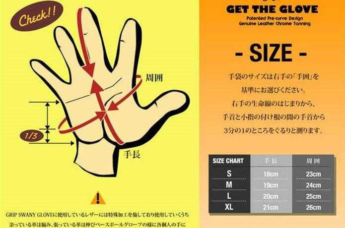 グリップスワニーのグローブ、サイズ表