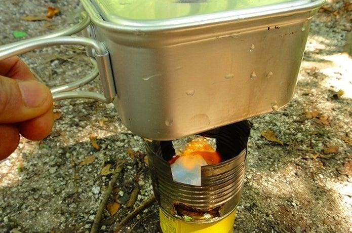 固形燃料でご飯を炊く