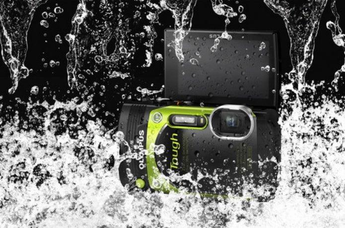 水についてるオリンパスの防水カメラ