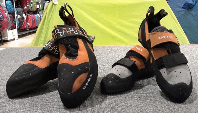 ボルダリングの靴2つ