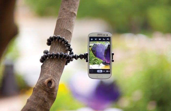 iphone三脚を木に巻きつける