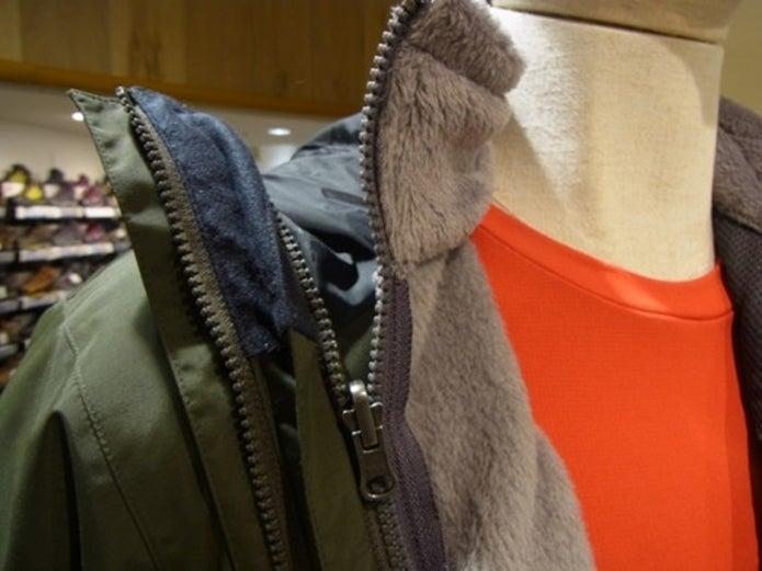ノースフェイスのスクープジャケットの首もと