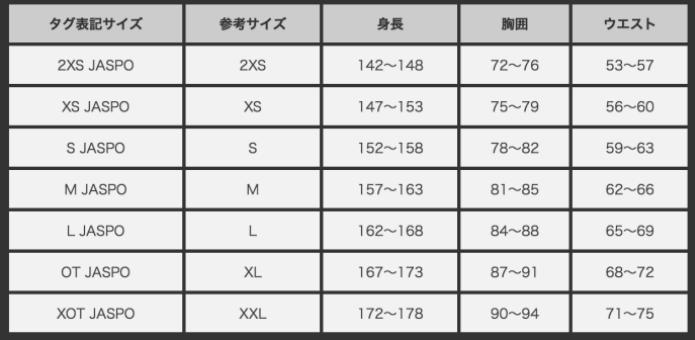 アディダスのTシャツサイズ表2
