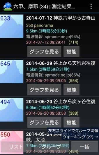 登山用GPSアプリ「山旅ロガー」画面