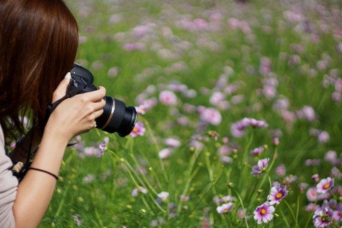 マクロレンズで撮影する女性