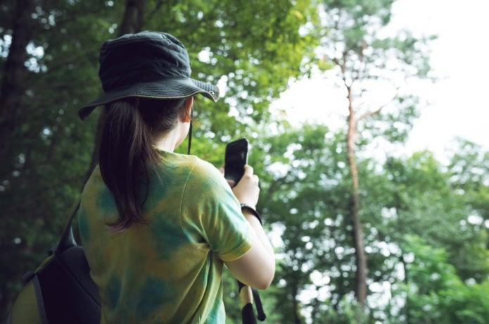 登山地図アプリを使っている女性