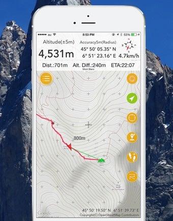 ジオグラフィカの登山地図アプリ