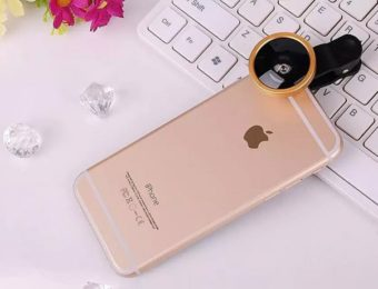 iphoneと取り付け型のカメラレンズ