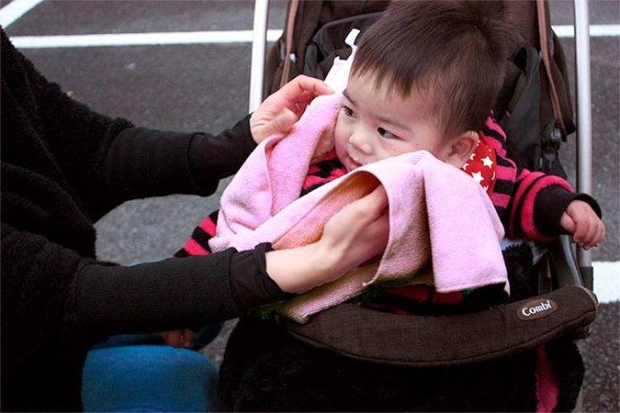 マイクロファイバータオルと赤ちゃん