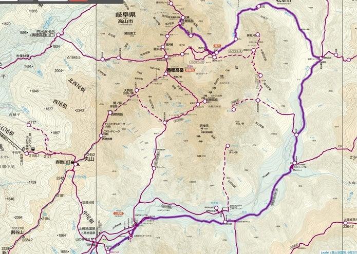 北穂高岳登山ルート図