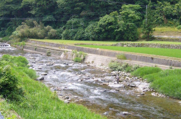 和田地区の川沿い