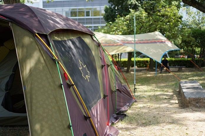 ロゴスのテントを使用している画像