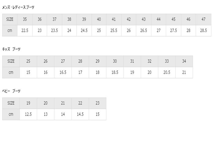 エーグルブーツの公式サイズ表