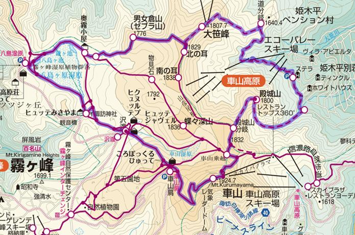 霧ヶ峰周回登山コースの画像