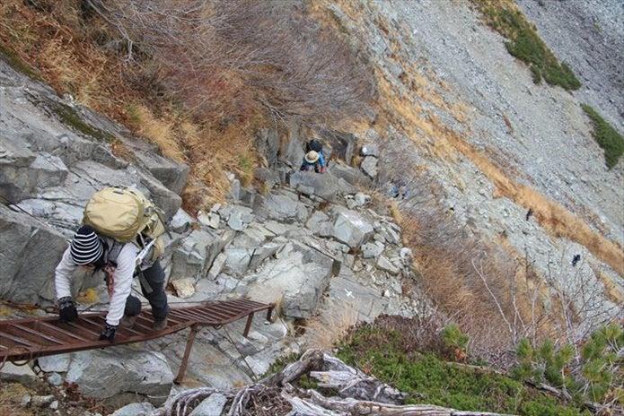 北穂高の登山ルート途中にあるはしご