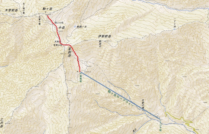 木曽駒ヶ岳登山概念図