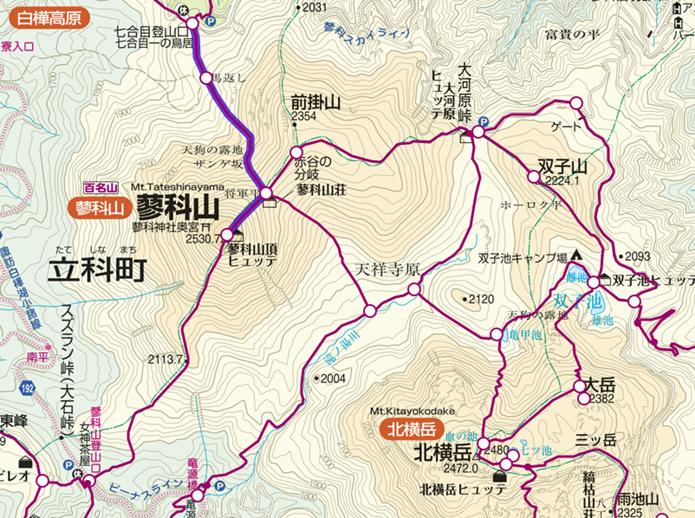 7合目登山口から蓼科山登山のコース画像