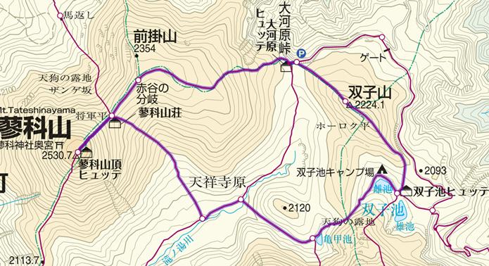 蓼科山と池巡り登山のコース画像