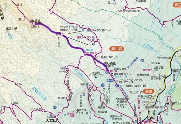 美し森から牛首山登山コースの画像