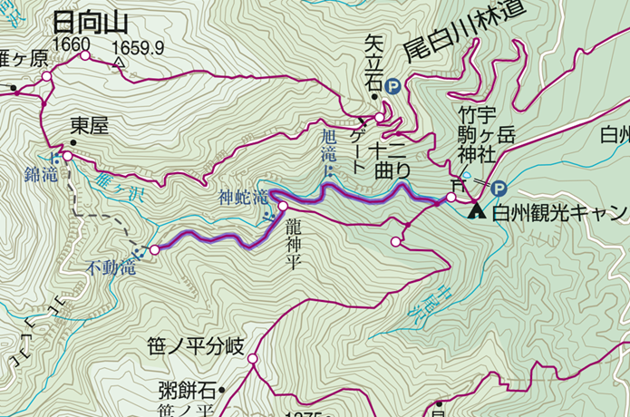 日向山麓の尾白川渓谷滝巡りコース画像