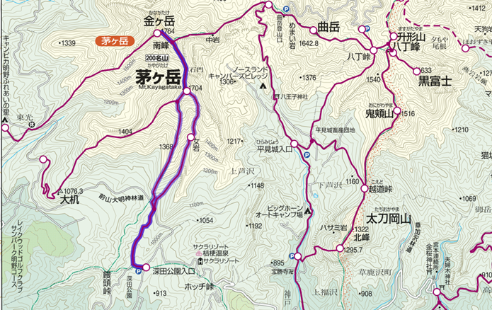 深田公園~茅ヶ岳~金ヶ岳登山コースの画像
